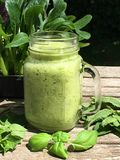 Freshly made green smoothie in a glass mug royalty free stock photo