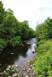Trout River Stream, Franklin County, Malone, New York, United States. Green vegetation covered Trout River Stream, located in Franklin County, Malone, New York stock photos