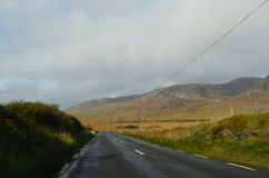 Green Vegetation and Mountain Landscape in a National Road in Ireland Stock Images