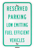 Green Vehicle Reserved Parking Sign. Reserved Parking Sign for Fuel Efficient Low Emitting Vehicles Royalty Free Stock Photo