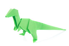 Green Velociraptor dinosaur of origami Royalty Free Stock Images