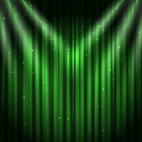 Green stage curtain background. Green velvet curtain background, vector illustration royalty free illustration