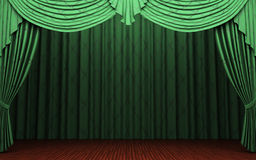 Green velvet curtain opening scene Royalty Free Stock Image