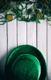 Green: Velvet Derby And Party Favors On Wood Background Stock Images