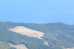 Green velvet hills of Crimean mountains and the Black sea. Royalty Free Stock Photography