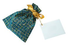Green velvet pouch Royalty Free Stock Photography