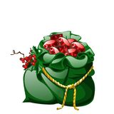 Green velvet sack tied with a golden rope with red berries of holly filled with precious stones rubies isolated on white. Background. Vector cartoon close-up stock illustration