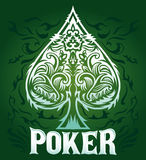 Green velvet Vintage Poker badge. Vector poster, card, invitation, template Royalty Free Stock Image