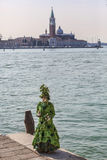 Green Venetian Costume Stock Image