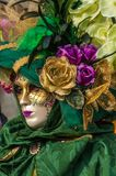 Green Venice Mask. Green venice carnival mask flower gem Stock Photo