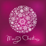 Marry Christmas card. With ball from snowflaks Royalty Free Stock Photography