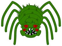 A green and very scary spider stock photos