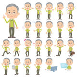 Green vest grandfather. Set of various poses of Green vest grandfather Stock Photography