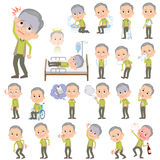 Green vest grandfather About the sickness. Set of various poses of Green vest grandfather About the sickness Royalty Free Stock Photos