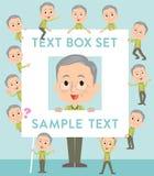 Green vest grandfather text box. Set of various poses of Green vest grandfather text box Royalty Free Stock Photos