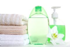 Green vial and soap Royalty Free Stock Photography
