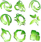 Green vibrant logos. Set of 3d vibrant signs Stock Photo