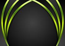 Green vibrant neon waves on black background Stock Photo