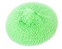 Green vibrant plastic scourer. Isolated on white background Royalty Free Stock Images