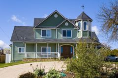 Green Victorian Home. Shot of a green victorian home located in the Central Valley of California Stock Image