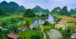Green village in china. Beautiful green countryside in Guangxi Province ,china royalty free stock images
