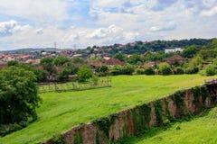 Green village in the vicinity of Corvin Castle, Hunedoara, Romania. stock images