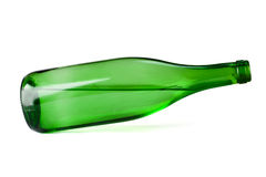 Green vine bottle tilted Royalty Free Stock Image