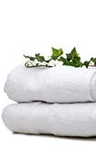 Green vine on white towels Royalty Free Stock Photo