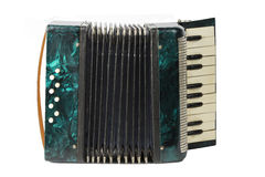 Green vintage accordion isolated on white background Royalty Free Stock Image