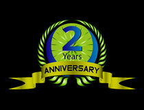 Green vintage anniversary message emblem. 2 years Royalty Free Stock Photography