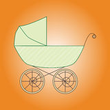 Green vintage baby stroller. Green stroller on orange background Royalty Free Stock Photography