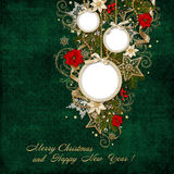 Green vintage background with frame and beautiful Christmas decorations Stock Image