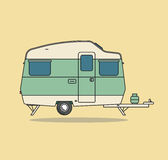 Green Vintage Camping Car. Caravan For Rest. Royalty Free Stock Images