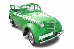 Green vintage car. Isolated on white Stock Images