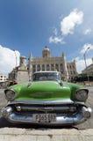Green vintage car at Revolution Museum in Havana Royalty Free Stock Photo