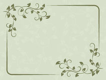 Green vintage card with floral frame design. Royalty Free Stock Photo