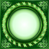 Green vintage circle frame with ribbon vector illustration