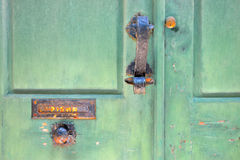 Green vintage door with decoration Stock Image