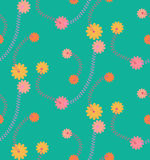 Green vintage flower seamless pattern. Vintage flower vector seamless pattern in hand drawn style Royalty Free Stock Image