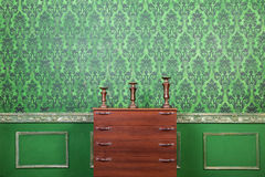 Green vintage interior with rococo pattern background Stock Images