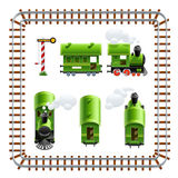 Green vintage locomotive with coach set Royalty Free Stock Photo