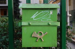 Green vintage mailbox Stock Image