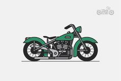 Green vintage motorcycle Royalty Free Stock Images