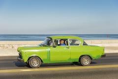 Green vintage Opel car Havana Stock Images