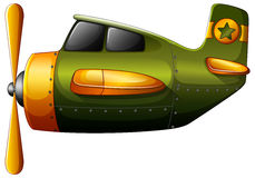 A green vintage plane. Illustration of a green vintage plane on a white background Royalty Free Stock Images