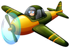 A green vintage plane. Illustration of a green vintage plane on a white background Royalty Free Stock Photos
