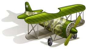 A green vintage plane. Lllustration of a green vintage plane on a white background Royalty Free Stock Photography