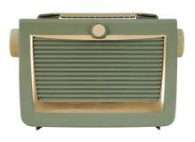 Green Vintage Radio. Frontal view Stock Photo