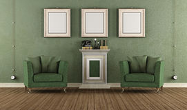 Green vintage room Royalty Free Stock Image