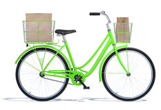 Green Vintage Style Bicycle with Baskets Stock Image